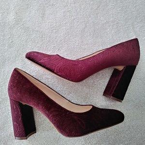 Nine West Burgundy Velvet Embossed Chunky Heel